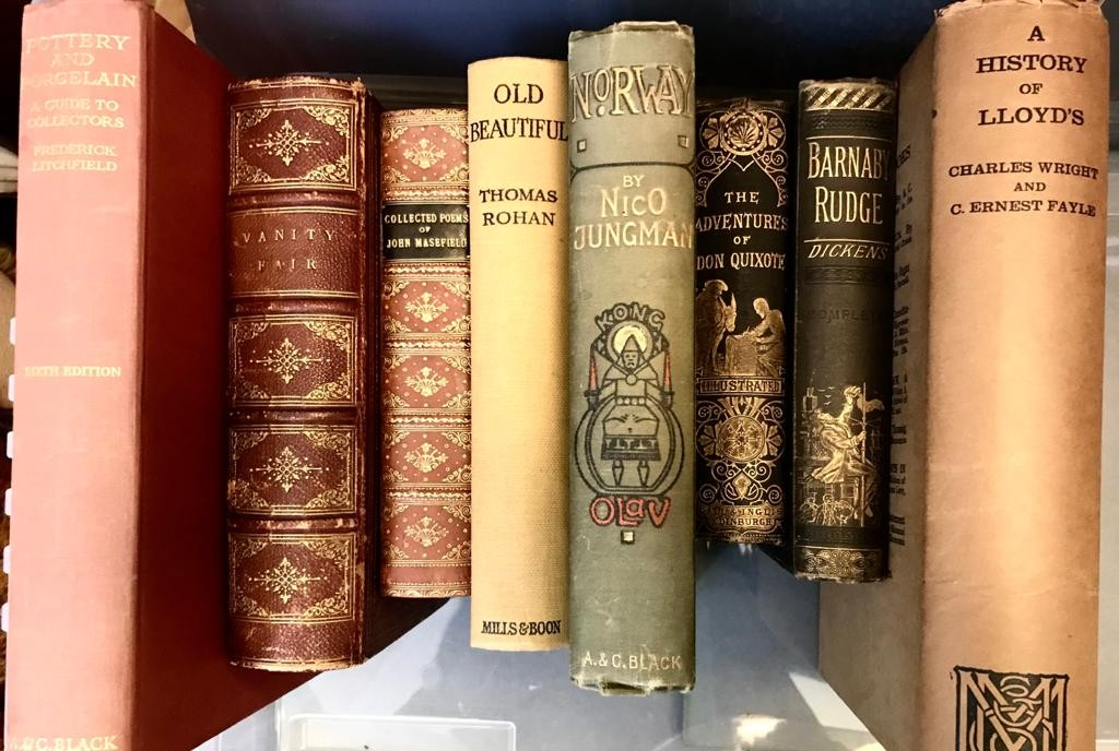 LICHFIELD 'POTTERY AND PORCELAINE', WRIGHT & FAYLE 'HISTORY OF LLOYDS' PLUS SIX OTHER VOLUMES