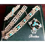 Turquoise set bracelet with two brooches, one stamped 18ct (buyer to test for gold). Total weight