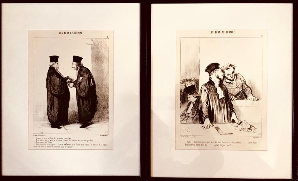 TRIO OF FRENCH PRINTS- 'LES GENS DE JUSTICE', SIGNED LOWER LEFT, FRAMED AND GLAZED, APPROXIMATELY 30