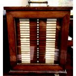 FINE MAHOGANY SPECIMEN CABINET WITH TWENTY-TWO DRAWERS CONTAINNG APPROXIMATELY 542 SPECIMEN GLASS