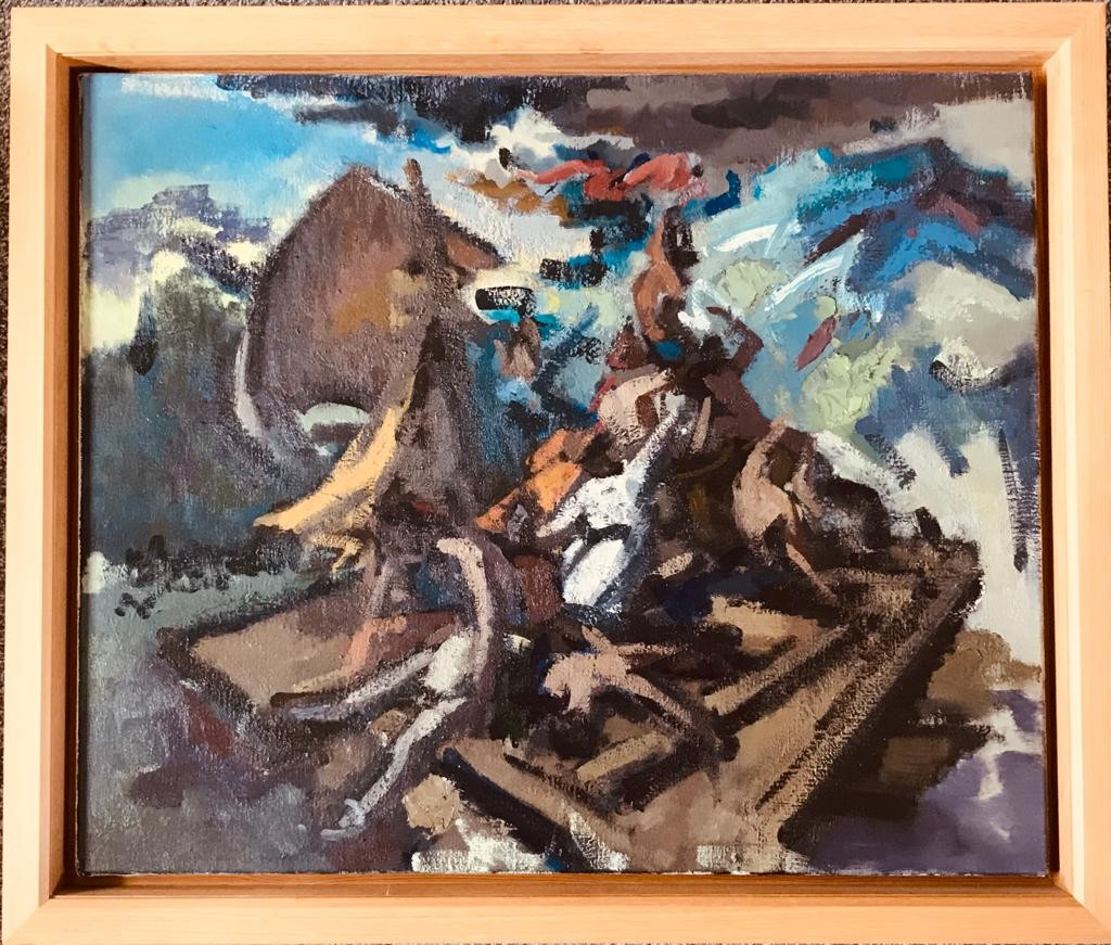 NICHOLAS HORSFIELD- 'THE RAFT ENGULFED', 1996, OIL ON CANVAS, UNSIGNED, UNGLAZED, APPROXIMATELY 65 x