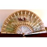 PAINTED SILK FAN WITH MOTHER OF PEARL STICKS