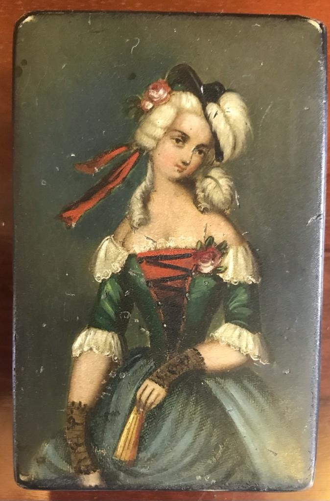 GOOD VICTORIAN PAPIER MACHE BOX WITH HINGED, HANDPAINTED COVER- 'FASHION OF THE DAY', - Image 2 of 2