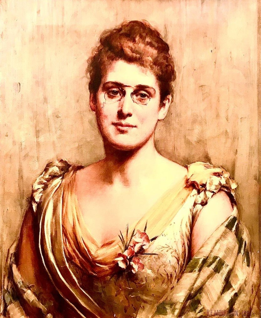 PORTRAIT OIL ON CANVAS OF MRS SAMUELSON OF LIVERPOOL SIGNED R E MORRISON, 1892. MRS SAMUELSON WAS - Image 2 of 3