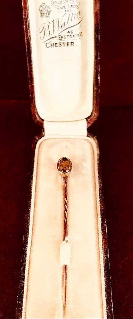 GOLD COLOURED STICK PIN SET WITH DARK CITRINE TYPE FACET CUT STONE