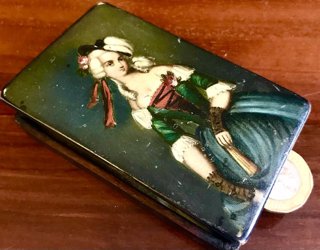 GOOD VICTORIAN PAPIER MACHE BOX WITH HINGED, HANDPAINTED COVER- 'FASHION OF THE DAY',