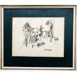UNKNOWN- 'STUDY OF GROTESQUE FIGURES', PEN AND INK, SIGNED (INDISTINCT) LOWER RIGHT, APPROXIMATELY
