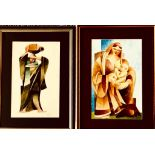 UNKNOWN- 'MADONNA AND CHILD' AND 'WATER BEARER', WATERCOLOURS, UNSIGNED, APPROXIMATELY 30 x 18cm AND