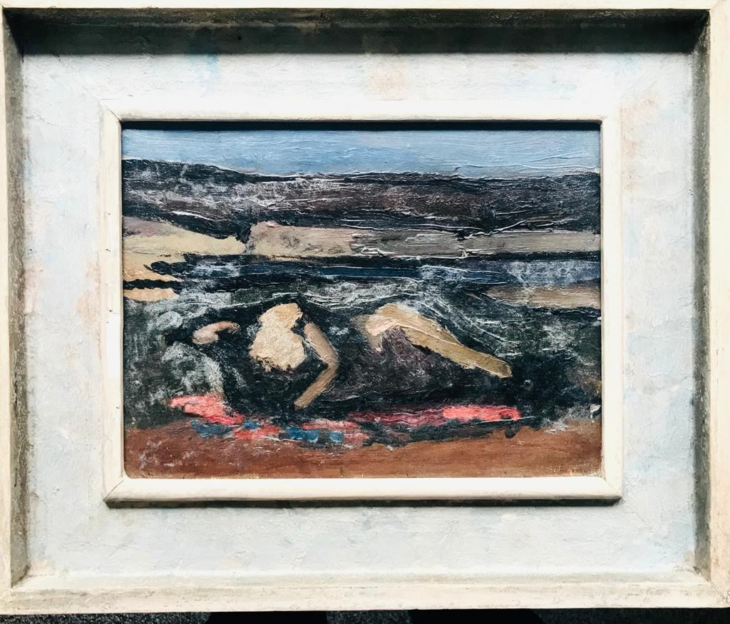NICHOLAS HORSEFIELD- 'ABSTRACTED FORM IN A LANDSCAPE', OIL ON BOARD, UNSIGNED, APPROXIMATELY 22 x
