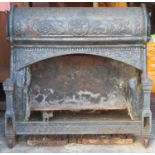 Interesting Late 19th century cast iron relief decorated fire insert, purportedly came from the