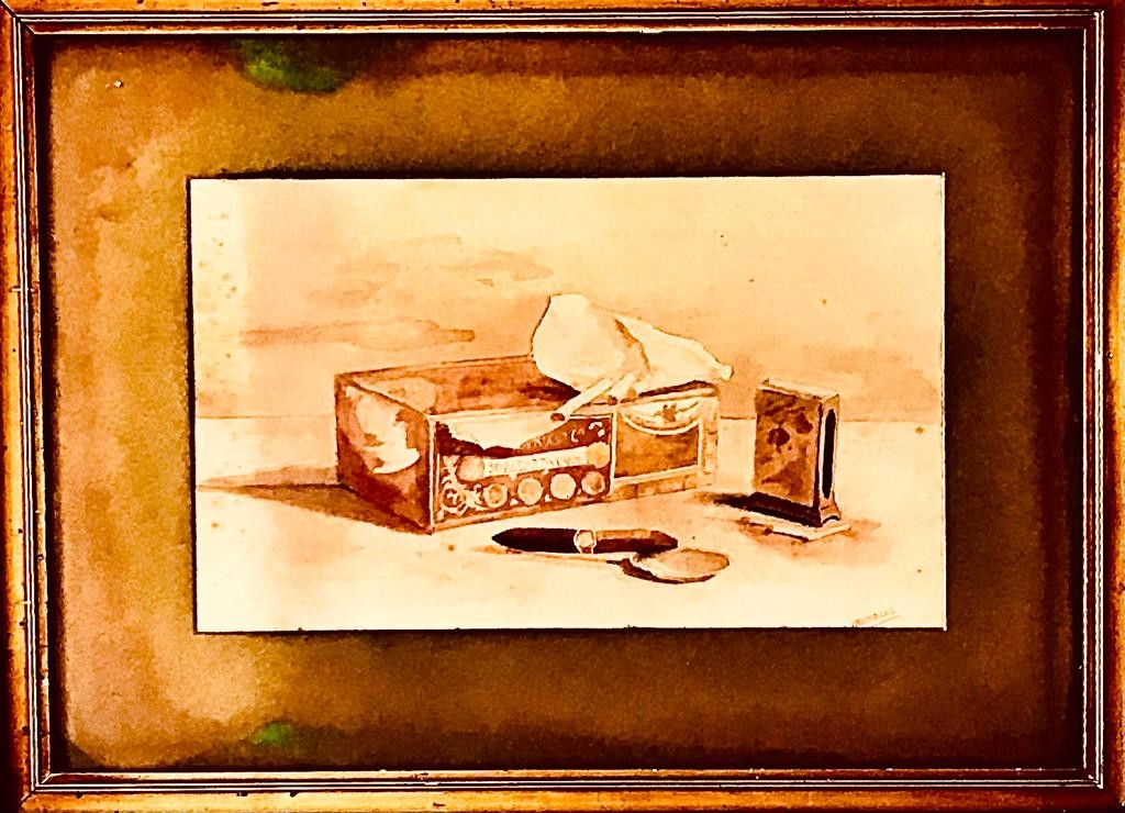 J NICHOLAS- 'STILL LIFE, CIGAR BOX', WATERCOLOUR, SIGNED LOWER RIGHT, APPROXIMATELY 19 x 31cm