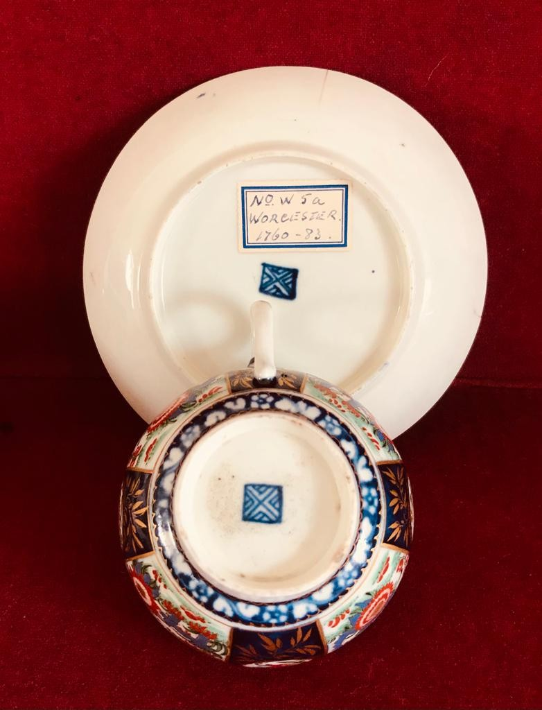 18th CENTURY WORCESTER CUP AND SAUCER, FLORAL SPRAY TO CUP INTERIOR, CIRCA 1760, DIAMETER - Image 2 of 2