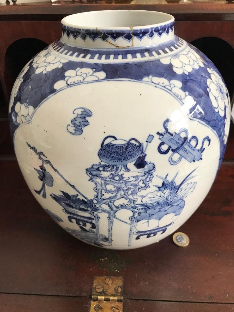 LARGE OVOID ORIENTAL STORAGE JAR AND ODD COVER, 19th CENTURY, NO MARKS TO BASE, JAR BASE TO RIM - Image 2 of 2