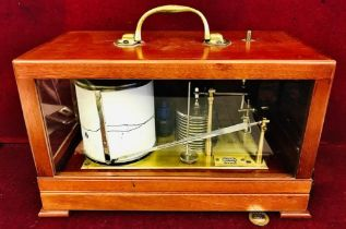MAHOGANY AND GLASS CASED BAROGRAPH BY CASELLA LONDON CASE WITH HINGED COVER, APPROXIMATELY 30cm LONG