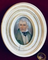MINIATURE PORTRAIT PAINTED ON CARD WITHIN IVORY FRAME, TOTAL IMAGE SIZE APPROXIMATELY 9cm x 7cm,