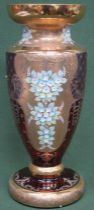 Impressive ruby venetian coloured venetian glass vase, with heavily gilded and floral decoration.