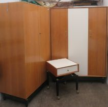 G Plan mid 20th century teak triple wardrobe, double fitted wardrobe, and bedside chest, all