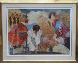 Roy Fairchild-Woodward - Large limited edition pencil signed artists proof serigraph - Masquerade.