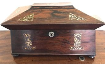 GOOD ROSEWOOD SARCOPHAGUS FORM TEA CHEST INLAID WITH BRASS AND CONTAINING TWO CADDIES AND GLASS