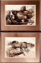 E BLACK, PAIR OF FIRST WORLD WAR SCENES, ONE DATED 1916, WATERCOLOURS, SIGNED LOWER RIGHT, FRAMED