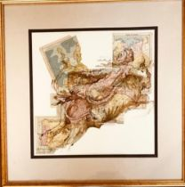 KEN MARTIN- 'THE RAPE OF EUROPA' AFTER JULIO ROLAND, 2000, MIXED MEDIA PEN AND INK OVER MAPS, SIGNED