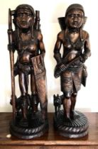 PAIR OF 20th CENTURY CARVED ORIENTAL FIGURES, APPROXIMATELY 63cm HIGH