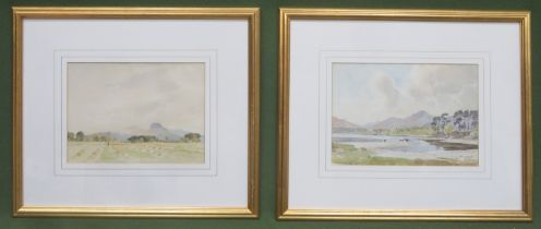 Percy Lancaster - Pair of gilt framed watercolours, depicting cows beside a lake, and a farmers