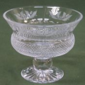 Edinburgh crystal etched thistle pattern stemmed melba bowl. 17cm H x 21cm Diameter