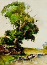 E WOODING- RECUMBENT SHEEP, WATERCOLOUR, APPROXIMATELY 34 x 24cm