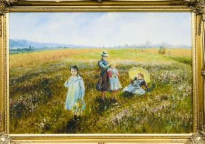 D LONG(?), 'IN THE SUMMER MEADOW', OIL ON CANVAS, PLEASING FURNISHING PICTURE IN GILDED FRAME,