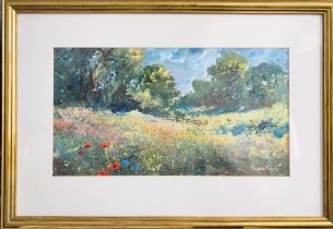 CONTEMPORARY PAINTING N OIL- 'BARLE VALLEY EXMOOR'- REVERSE LABEL 'FROM THE STUDIO OF R VALENTE',