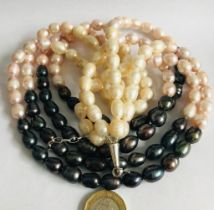 NECKLACE OF FOUR STRANDS OF BAROQUE PEARLS, CHAMPAGNE, PINK AND DARK MULTI-COLOURS, APPROXIMATELY