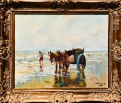 CEADDEWY(?)- 'THE COCKLE GATHERER', 20th CENTURY OIL ON CANVAS, SIGNED LOWER RIGHT AND FRAMED,