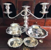 SEVEN PIECES OF SILVER PLATED WARE COMPRISING CANDELABRUM, TWO MINIATURE URNS, TWO MEDIUM BOWLS