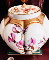 ROYAL WORCESTER LOBED VASE AND COVER, APPROXIMATELY 15.5cm HIGH