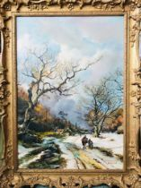 A C ROBINSON- 'THE TRAVELLERS IN THE SNOW', LATE 19th CENTURY OIL ON CANVAS, SIGNED LOWER RIGHT,