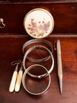 SUNDRY LOT INCLUDING SILVER BANGLE AND NAPKIN RINGS, DROP EARRINGS, MIRROR, SILVER PENCIL AND