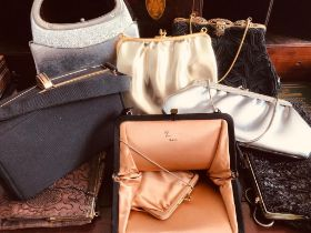 COLLECTION OF EIGHT VINTAGE HANDBAGS INCLUDING A HARRY LEVINE USA EXAMPLE