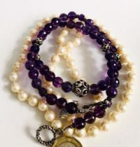 AMETHYST COLOURED NECKLACE PLUS ARTIFICIAL PEARL NECKLACE