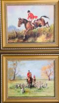 HOLLOWAY- 'THE HUNTSMAN' AND 'THE PACK', PAIR OF OIL ON BOARDS, SIGNED BOTTOM RIGHT WITH GILDED