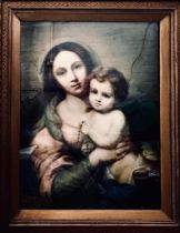 AFTER MURRILO, POLYCHROME LITHOGRAPH OF MOTHER AND CHILD, APPROXIMATELY 71 x 53.5cm