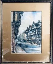 GRACE BASSET 1865-1946, 'THE HIGH STREET' (POSSIBLY KENT), WATERCOLOUR, FRAMED AND GLAZED,