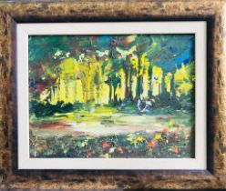 R VALENTE- 'AFTER MONET', OIL ON CANVAS, LABEL TO REVERS, SIGNED LOWER RIGHT, APPROXIMATELY 29 x