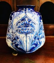 WILLIAM MOORCROFT MACINTYRE FLORIAN WARE VASE, TYPICAL TUBE DECORATION AND PALETTE, APPROXIMATELY