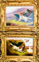 R CLEMINSON- 'WORKING SETTERS', PAIR OF OIL ON CANVAS, BOTH SIGNED LOWER LEFT, APPROXIMATEY 24 x