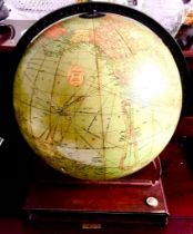 MID 20th CENTURY REPLOGLE 12in LIBRARY GLOBE AND STAND