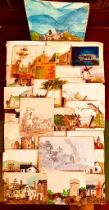 RARE AND INTERESTING COLLECTION OF WATERCOLOUR DRAWINGS, NINETEEN UNSIGNED AND ONE SIGNED WILLIAM