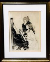 PAUL CESAR HELLEU, 'THE PIANO LESSON', ETCHING, SIGNED IN PENCIL BOTTOM LEFT, FRAMED AND GLAZED,