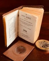 MINIATURE LEATHER BOUND BIBLE PRINTED NIMMO, HAY AND MITCHELL, LONDON AND EDINBURGH, COMPLETE WITH