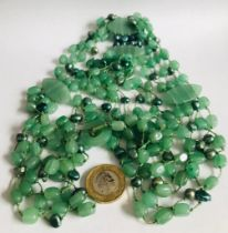 JADEITE MULTI-STRAND NECKLACE, APPROXIMATELY 47cm TOP TO END